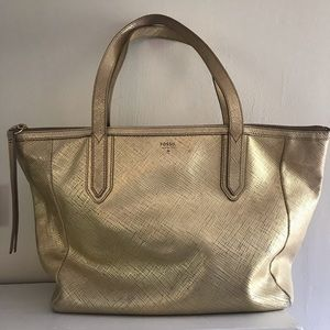 Gold fossil Sydney Tote